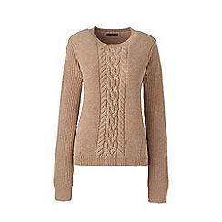 Lands' End - Beige plus cable crew neck jumper