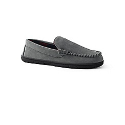 Lands' End - Grey suede moccasin slippers with fleece lining