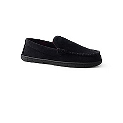 Lands' End - Black suede moccasin slippers with fleece lining