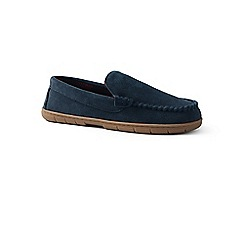 Lands' End - Blue suede moccasin slippers with fleece lining