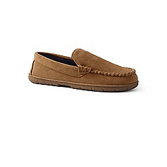 Lands' End - Beige suede moccasin slippers with fleece lining