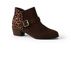 Lands' End - Brown wide suede ankle boots with leopard print