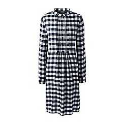 Lands' End - Blue patterned tuxedo bib dress