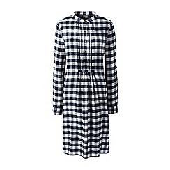 Lands' End - Blue petite patterned tuxedo bib dress