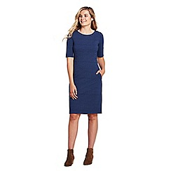 Lands' End - Blue shift dress in patterned ponte jersey