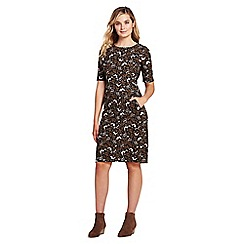 Lands' End - Brown shift dress in patterned ponte jersey