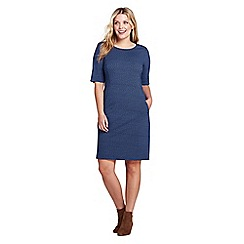 Lands' End - Blue plus patterned ponte jersey shift dress