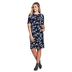Lands' End - Black petite shift dress in patterned ponte jersey