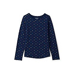 Lands' End - Navy girls' long sleeve patterned t-shirt