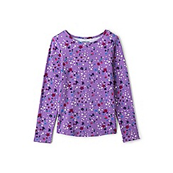 Lands' End - Purple girls' long sleeve patterned t-shirt