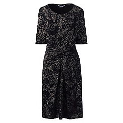 Lands' End - Black women's print jersey dress with twist front