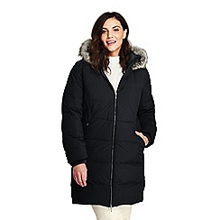 b9a7e6ff86 Lands  End - Black plus faux fur hooded and lined down coat with stretch