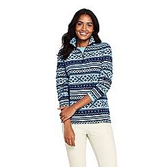 Lands' End - Blue patterned half zip fleece jumper