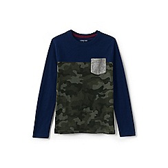 Lands' End - Green boys' colourblock t-shirt with pocket
