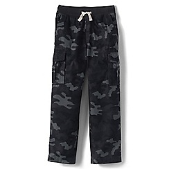 Lands' End - Black boys' iron knees pull-on camo cargo trousers