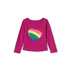 Lands' End - Pink toddler girls' long sleeve novelty embellished graphic t-shirt
