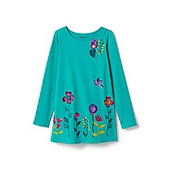 Lands' End - Turquoise girls' ruffle back graphic tunic top