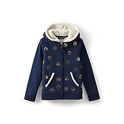 Lands' End - Navy girls' patterned sherpa hoodie
