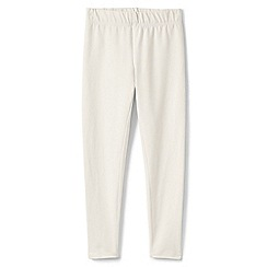 Lands' End - Cream girls' stretch cotton leggings