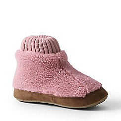Lands' End - Pink sherpa fleece bootie slippers