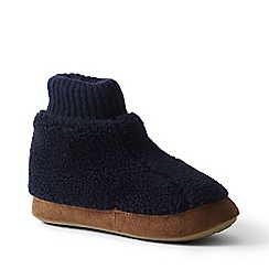Lands' End - Blue sherpa fleece bootie slippers