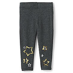 Lands' End - Grey toddler girls' iron knees ankle length graphic jersey leggings