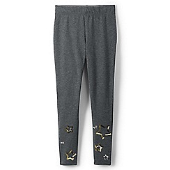 Lands' End - Grey girls' iron knees ankle length graphic jersey leggings