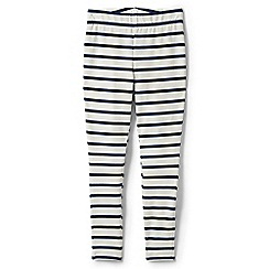 Lands' End - Cream girls' iron knees ankle length striped jersey leggings