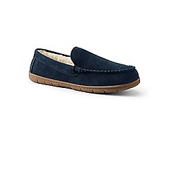 Lands' End - Blue suede moccasin slippers with faux fur lining