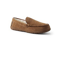 Lands' End - Beige suede moccasin slippers with faux fur lining