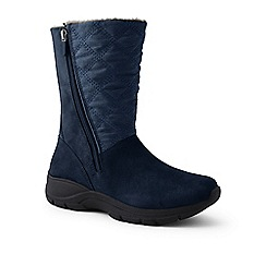 Lands' End - Blue wide quilted side-zip winter boots
