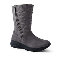 Lands' End - Grey wide quilted side-zip winter boots