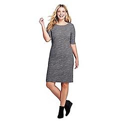 Lands' End - Grey plus shift dress in ponte jersey, jacquard