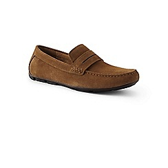 Lands' End - Brown penny loafers driving shoes in suede
