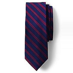 Lands' End - Blue double stripe hand-sewn silk tie