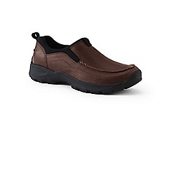 Lands' End - Brown wide everyday slip on leather shoes