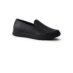 Lands  End - Black wide lightweight comfort leather slip-on trainers f80d7e18f83a