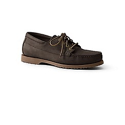 Lands' End - Brown leather lace up moc shoes