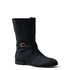 Lands' End - Black wide suede slouch boots