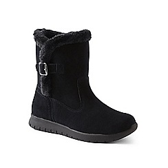 Lands' End - Black wide lightweight comfort suede boots