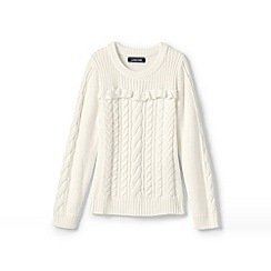Lands' End - White girls' cable and frill jumper