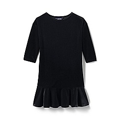 Lands' End - Black girls' drop waist velveteen dress