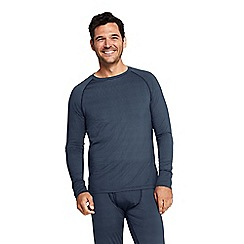 Lands' End - Grey printed stretch thermaskin crew neck thermal top
