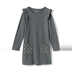 Lands' End - Grey girls' spotty pocket ruffle shoulder dress