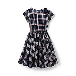 Lands' End - Blue girls' party dress in printed cotton sateen