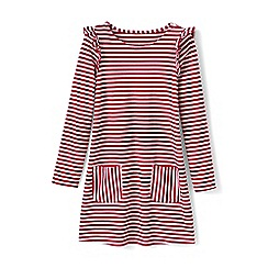 Lands' End - Red girls' striped ruffle shoulder dress