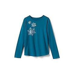 Lands' End - Blue girls' snowflake graphic t-shirt