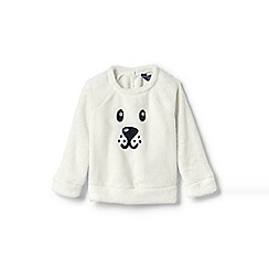 Lands' End - Cream toddler girls' cuddly fleece critter sweatshirt