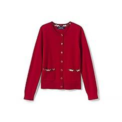 Lands' End - Red girls' tartan trim sophie cardigan
