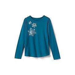 Lands' End - Blue toddler girls' snowflake graphic t-shirt